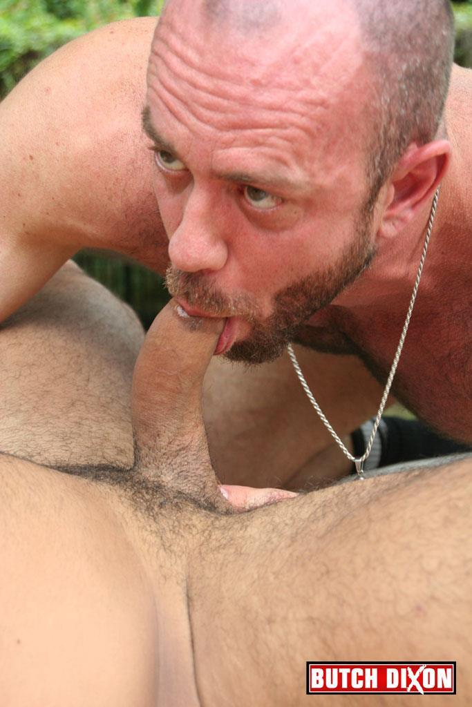 Butch-Dixon-Rikk-York-and-Matt-Stevens-Hairy-Daddy-and-Younger-Guy-Trade-Blow-Jobs-Amateur-Gay-Porn-18 Hairy Beefy Muscle Daddy Fucking His Younger Buddy Outside