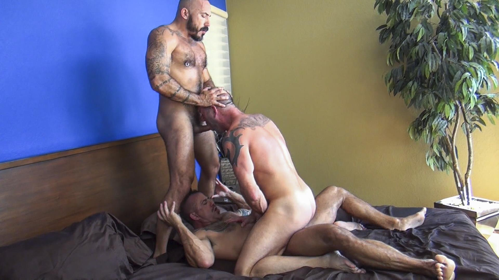 Raw Fuck Club Alessio Romero and Jon Galt and Vic Rocco Hairy Muscle Daddy Bareback Amateur Gay Porn 4 Hairy Muscle Daddy Threeway Double Bareback Penetration