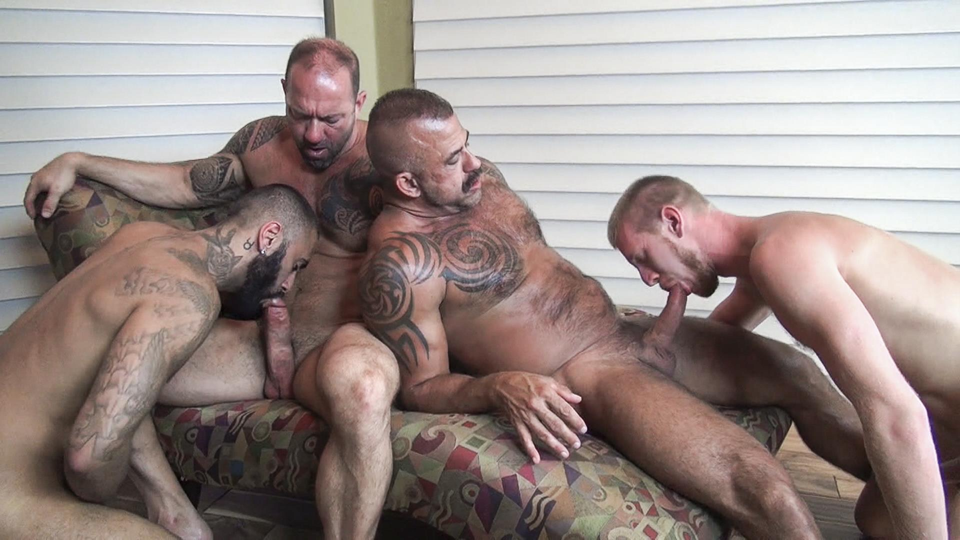 Raw Fuck Club Vic Rocco and Rikk York and Billy Warren and Job Galt Bareback Daddy Amateur Gay Porn 10 Four Hairy Muscle Daddies In A Bareback Fuck Fest Orgy