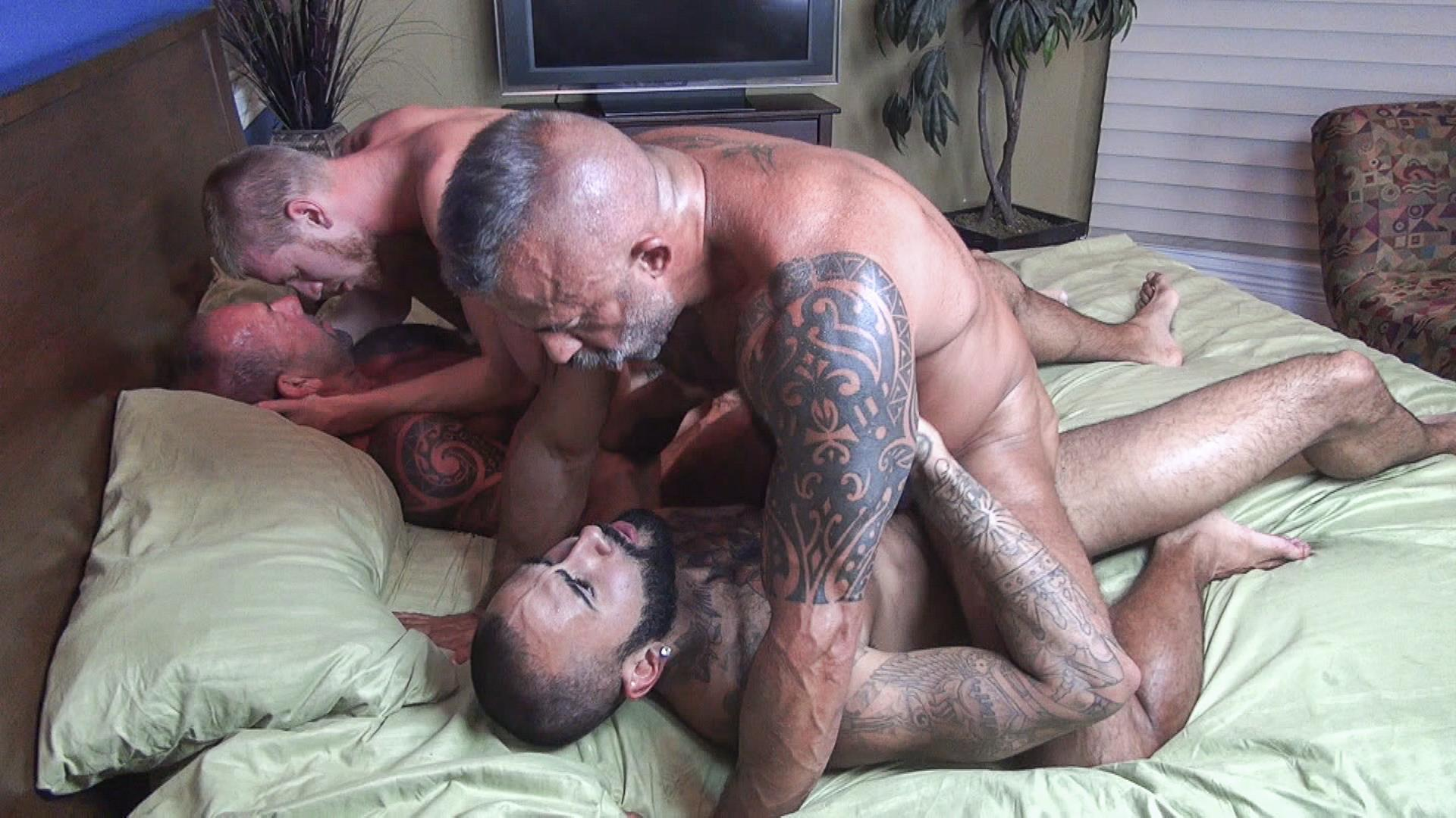 Raw-Fuck-Club-Vic-Rocco-and-Rikk-York-and-Billy-Warren-and-Job-Galt-Bareback-Daddy-Amateur-Gay-Porn-12 Four Hairy Muscle Daddies In A Bareback Fuck Fest Orgy